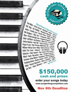 International Songwriting Competition - Nov 6 Deadline