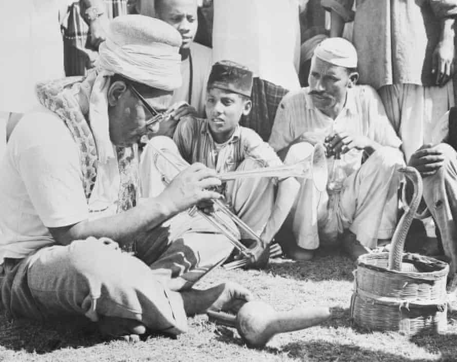 Dizzy Gillespie charming a snake while on tour in Karachi, Pakistan.